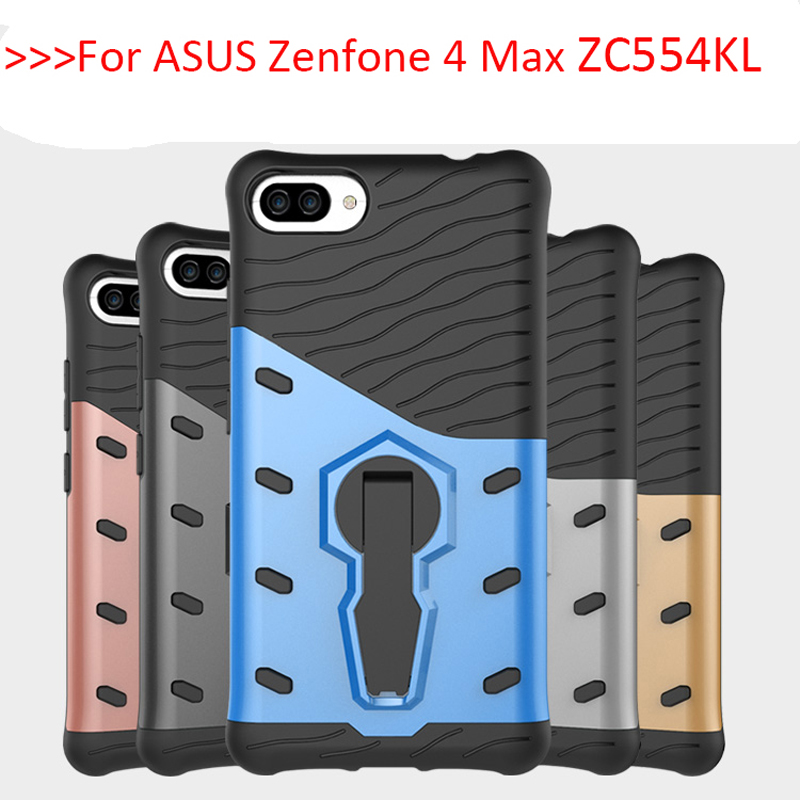 Для Asus Zenfone 4 Max zc554kl силиконовый чехол ТПУ и жесткий PC Обложка с подставкой телефона чехол для Asus Zenfone 4 Max zc554kl Чехол