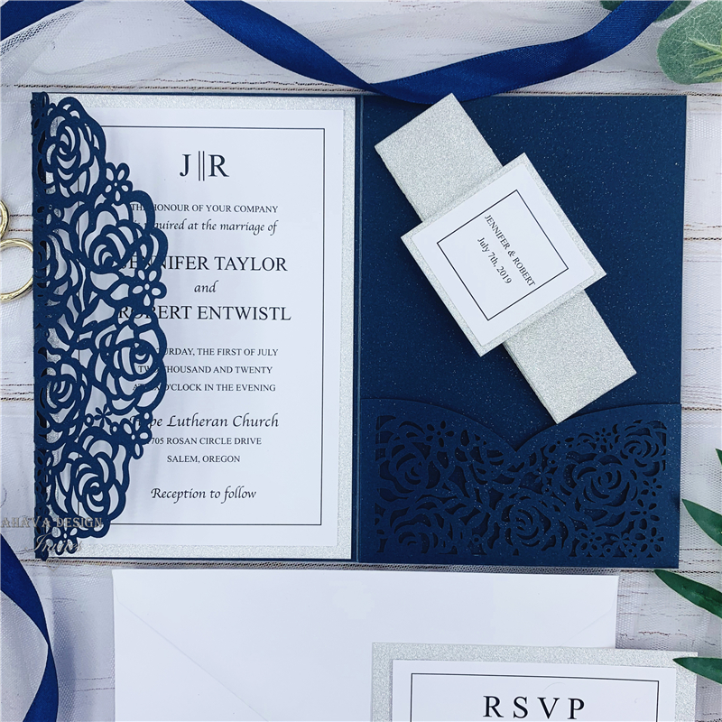 Elegant Navy Blue Rose Laser Cut Pocket Wedding Invitations With Glitter Belly Bands And Tags