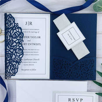 Elegant Navy Blue Rose Laser Cut Pocket Wedding Invitations With Glitter Belly Bands And Tags - DISCOUNT ITEM  0% OFF All Category