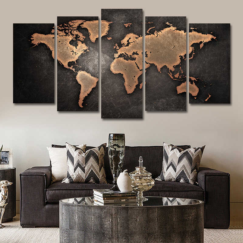 5PCS Abstract Posters And Prints Wall Art Canvas Painting Wall Pictures For Living Room Nordic Decoration World Map