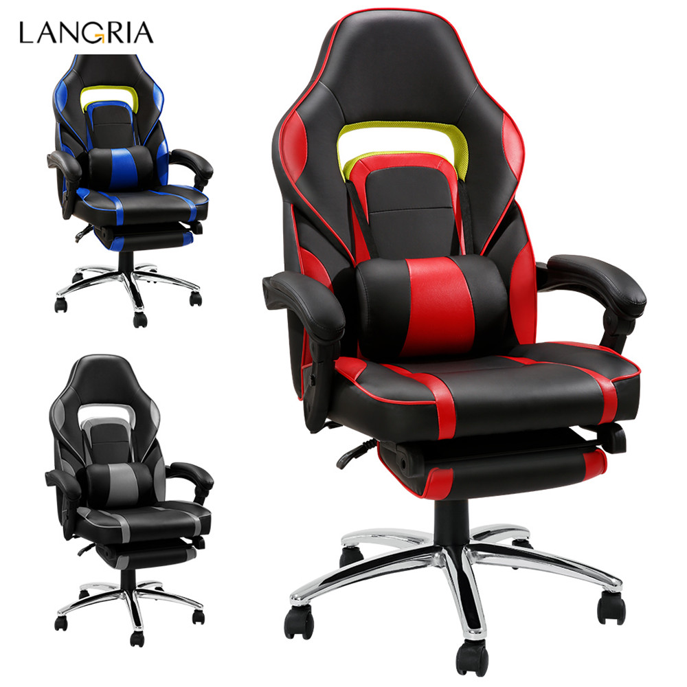 LANGRIA Ergonomic High-Back Faux Leather Racing Style Reclining Computer Gaming Executive Office Chair with Padded Footrest and Lumber Cushion16