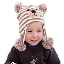 Sombrero de oso de bebé de dibujos animados gorros de ganchillo para niño  niña otoño invierno a rayas niños sombrero pompón acce. f85385751ee