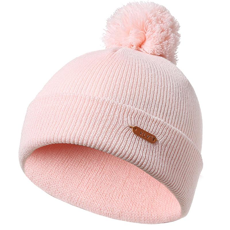 Winter Hat Warm Knit Cap Skullies Beanies With Wool Ball Pompom Kintted Beanie Bonnet For Women Female Girls Ladies Caps Hats