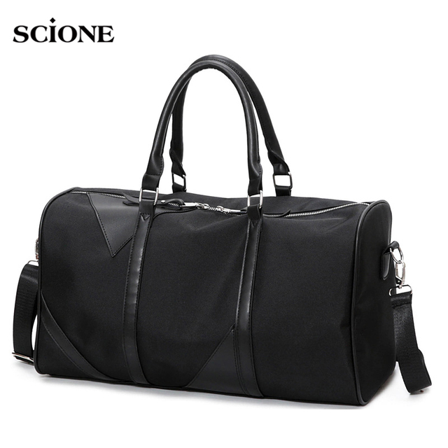 Black Sports Fitness Gym Bag Women Waterproof Oxford Tote Handbags Shoulder Crossbody Bags Travel Duffle Boarding Bag XA228YL