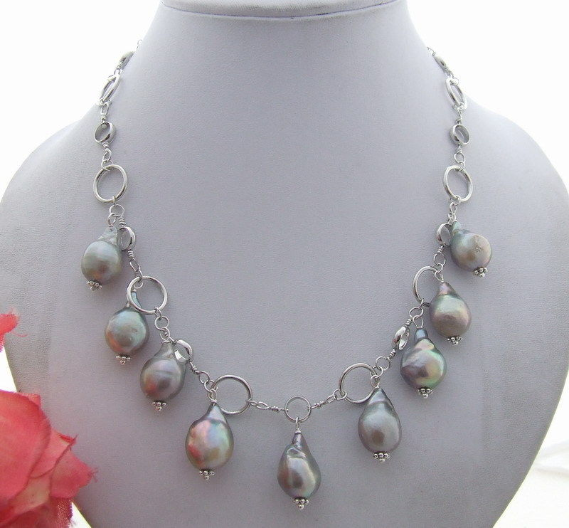 Great! 16mm Grey Nucleated Pearl Necklace