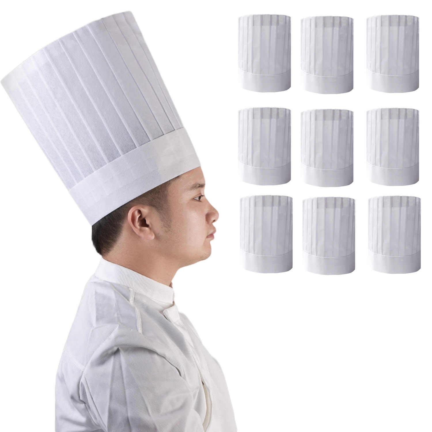 Behogar 10 Pcs Disposable Chef Hat Cooking Pastry Chef Cap Kitchen Supplies For Restaurants Home Kitchen Cooking Club
