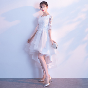 Image 2 - White High Low Dress 2018 Elegant O neck Short Front Long Back Lace Prom Dresses With Half Sleeves Special Occasion Dresses