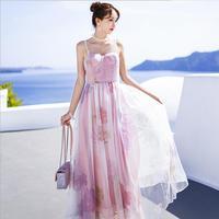 Sweet New 2019 Summer Floral Printing Spaghetti Strap Big Swing Long Party Maxi Dress Vestido Women Lady Runway Dress