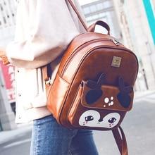 Deer Backpack Black Preppy Style School Backpacks Funny Quality Pu Leather Fashion Women Shoulder Bag Travel Back Pack Sac A Dos