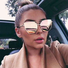 2017 New Flat Top Rosa de Ouro Marca Cool Designer Óculos de Sol Das  Mulheres Dos Homens óculos de Sol Espelho Moda Feminina ata. 1a3dd6e858