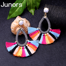 boho handmade tassel earrings for women vintage big black colors drop earring fashion jewelry dropshipping gifts