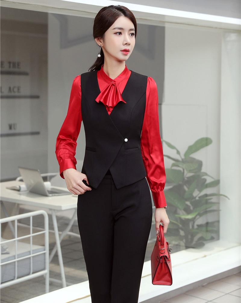 Novelty Black Uniform Designs Pantsuits With Pants And Vest Coat & Waistcoat 2019 Spring Summer Business Suits Ladies Office Set