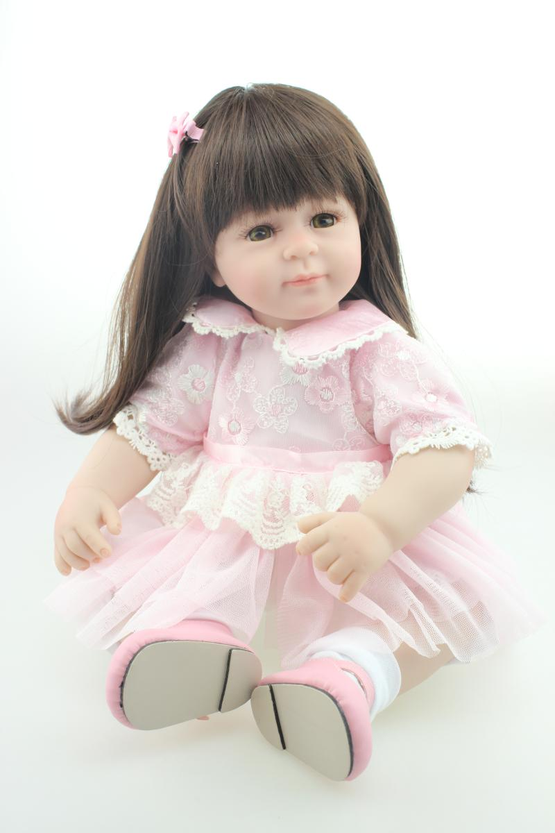 NPK bebe reborn Silicone Dolls Limbs Cloth Body Long Hair Girl 20 inch Handmade Realistic Soft Baby Doll birthday Gift new children coat minnie baby girls winter coats full sleeve coat girl s warm baby jacket winter outerwear thick girl clothing