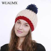 2bed0616dbe Wuaumx NEW Winter Hats For Women Pompom Beanies For Ladies Woolen Ball Warm  Knitted Cap Girls Cap czapka zimowa bonnet femme