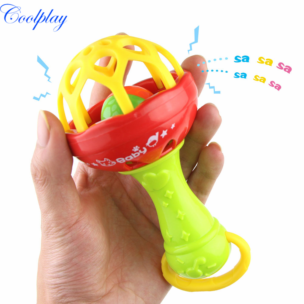 Coolplay 0-12 Months Baby Rattles Newborn Baby Teether Hand Hold Shaking Bells Baby Toys Crib Ring Infant Rattles Toys {