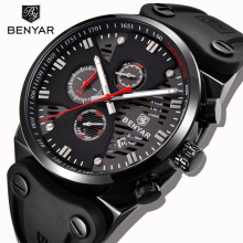 BENYAR Mens Sports Watch Black Simple Watch Three pin Design Chronograph Calendar Watch Mens Silicone Strap Waterproof Watch
