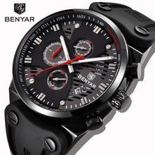 BENYAR ساعة رياضية للرجال أسود ساعة يد بسيطة ثلاثة دبوس تصميم كرونوغراف التقويم ساعة رجالية سيليكون حزام مقاوم للماء ساعة