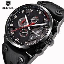 Reloj deportivo BENYAR para hombre, reloj sencillo negro con diseño de tres Pines, cronógrafo, reloj con calendario, reloj impermeable con correa de silicona para hombre