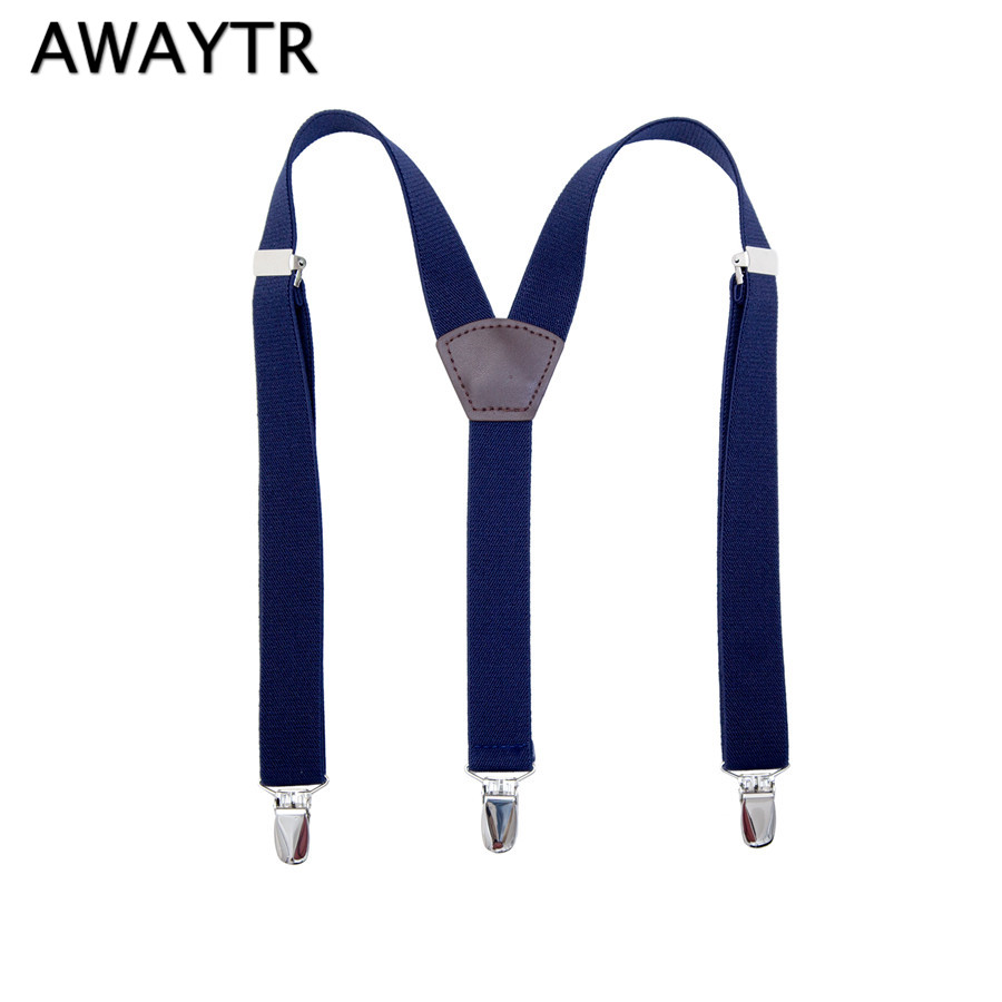 AWAYTR 110cm Suspenders Men High Quality Braces Men Jarretel Green Purple Navy Color Suspenders Adjustable Belt Straps 3 Clips