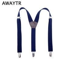 AWAYTR 110cm Suspenders Men High Quality Braces Men Jarretel Green Purple Navy Color Suspenders Adjustable Belt Straps 3 Clips