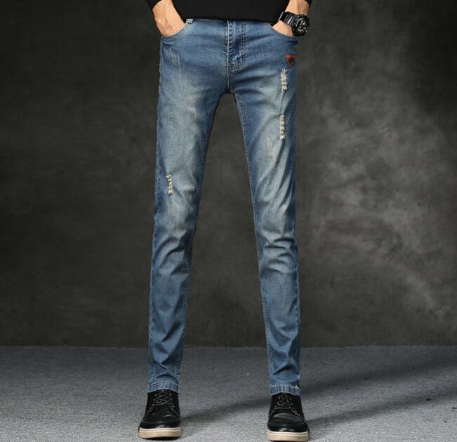 2018 Новое поступление повседневные дизайнерские тонкие Прямые джинсы для Для мужчин; Бесплатная доставка