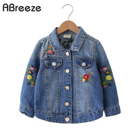 New classic children denim coats spring autumn embroidered style kids outerwear jackets for girls turn down collar girls clothes