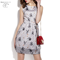 ElaCentelha Brand Dress Summer Women Dot Print Contrast Color Patchwork Drsss Sleeveless Empire Mini Women S