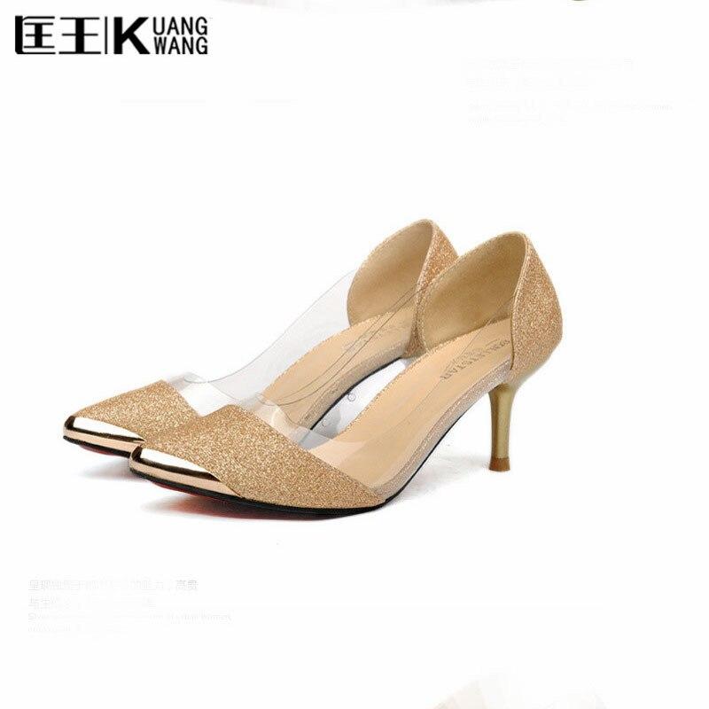 2017 Women High Heels Prom Wedding Shoes Lady Sexy High Heels Silver Glitter Rhinestone Bridal Shoes Thin Heel Party Pump цена 2016