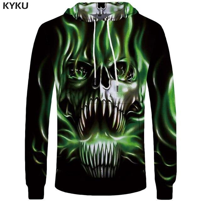 d75941eac9cb KYKU Brand Skull Hoodie Men Punk 3d Printed Black Streetwear Green Flame  Mens Clothing Male Long Hoodie Sweatshirt New Funny