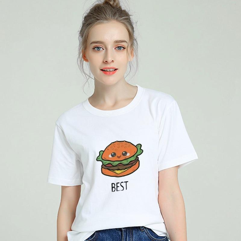 Best Friends Food Harajuku Aesthetics Tshirt Women Cotton 2019 Modis Plus Size T Shirt Femme Tumblr Print Short Sleeve Top Tees