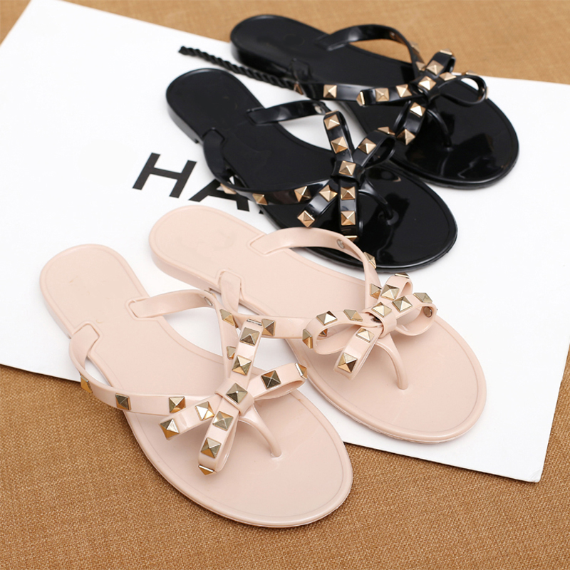 2018 Fashion Women Sandals Flat Jelly Shoes Bow V Flip Flops Stud