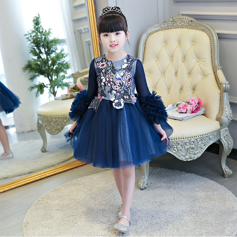 Embroidery Flower Girl Dresses Petal Sleeve Ball Gown Kids Pageant Dress Birthday Costume Knee Length Prom Party Dress B65 flounce sleeve eyelet embroidery dress