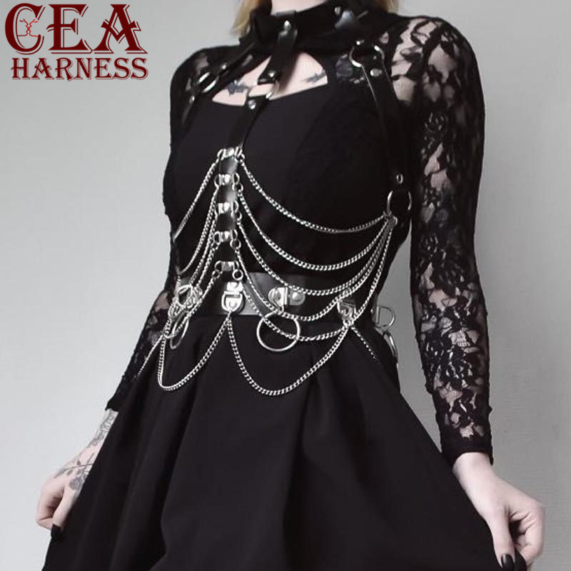 CEA.HARNESS 2Pcs Set Sexy Leather Harness Chain Chest Belt For Women Garter Bondage Harness Dress Waist Belts BDSM New Fashion