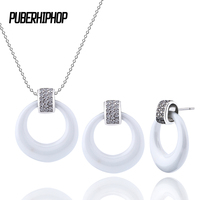 50 Off Costume Jewelry Set Silver Black White Ceramic Wedding Accessories Necklace Earring For Women Fashion