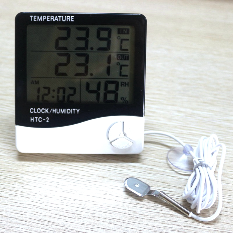Weather Station HTC-2 Indoor Outdoor Thermometer Hygrometer Digital LCD C/F Temperature Humidity Meter Alarm Clock with Sensor