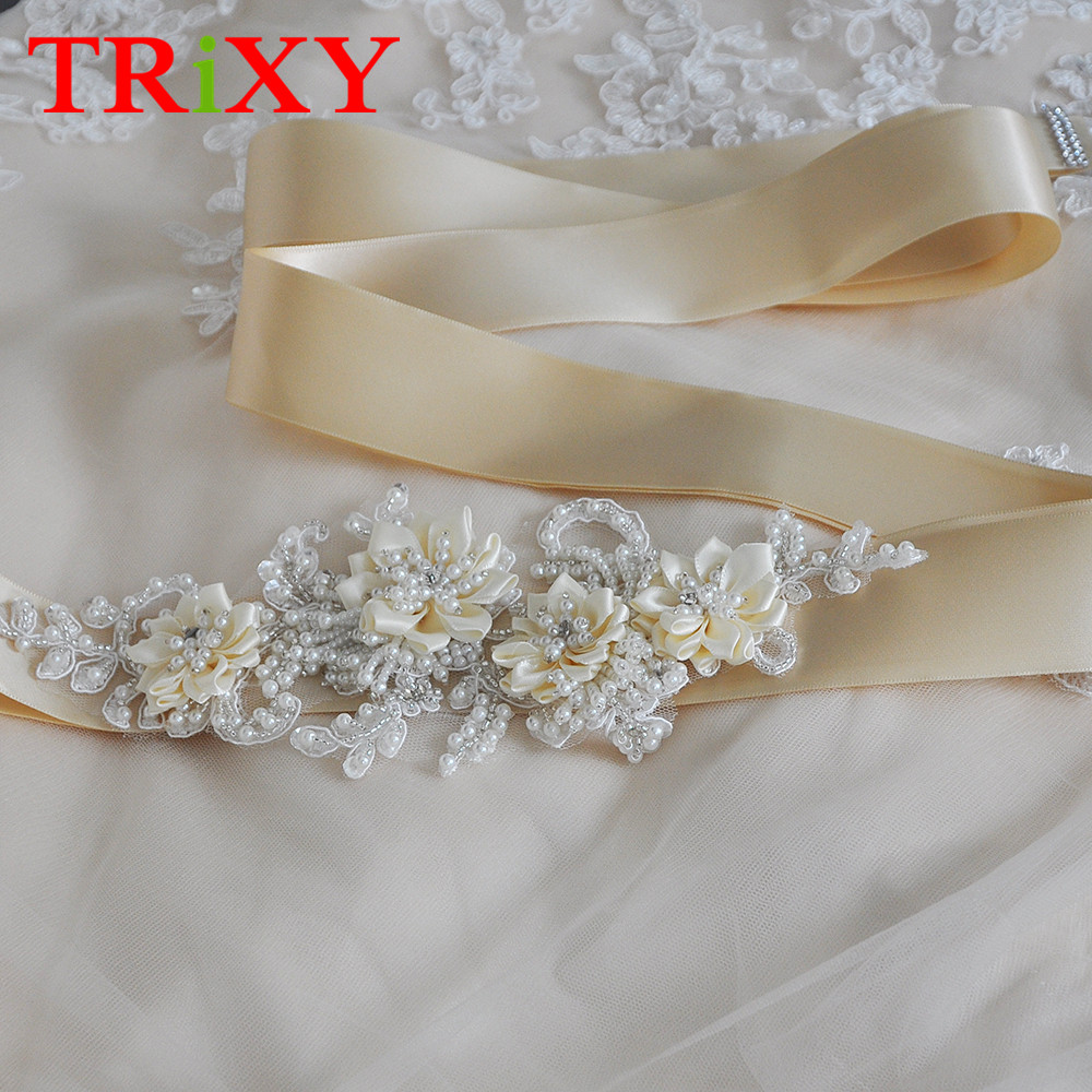 Trixy B102 Rhinestones Beaded Thin Wedding Belts Wedding Sashes Handmade Crystal Rhinestone Bridal Belts Bridal Sashes Moderate Price Weddings & Events