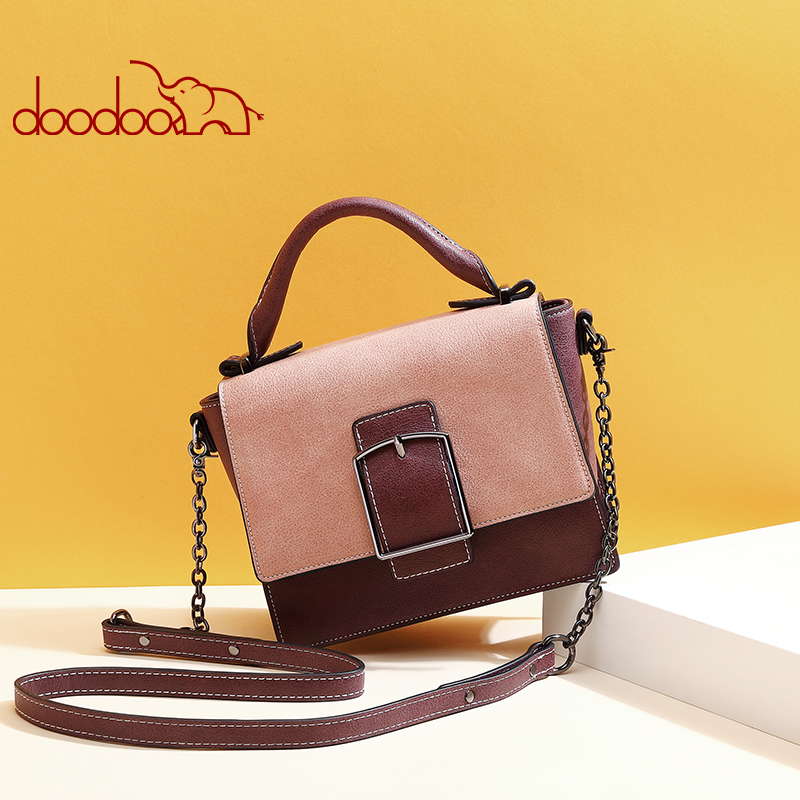 DooDoo 2018 new fashion Messenger bag summer small bag female pin buckle hit color square package of the wild shoulder  handbags round buckle lunch box bucket bag female 2018 new fashion messenger female shoulder bag