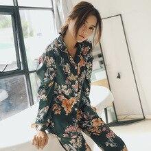 ฤดูใบไม้ผลิผู้หญิงผ้าไหมแขนยาวชุดนอน 2 ชิ้นชุดนอนนุ่มสบายชุดนอนพิมพ์ดอกไม้ Pijama ชุดนอน