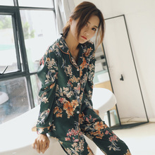 Printemps femmes soie à manches longues pyjamas ensembles 2 pièces vêtements de nuit doux décontracté confortable Pyjama imprimer fleur Pijama vêtements de nuit