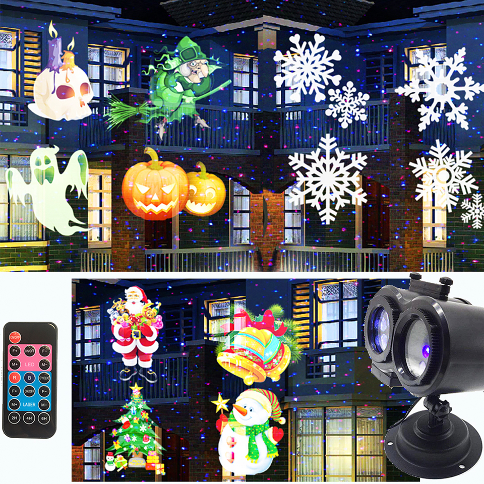 Decorations Led Projector Lights Red Blue Laser 16 Slides Pattern for Christmas, Halloween, Party, Thanksgiving Indoor Outdoor цена 2017