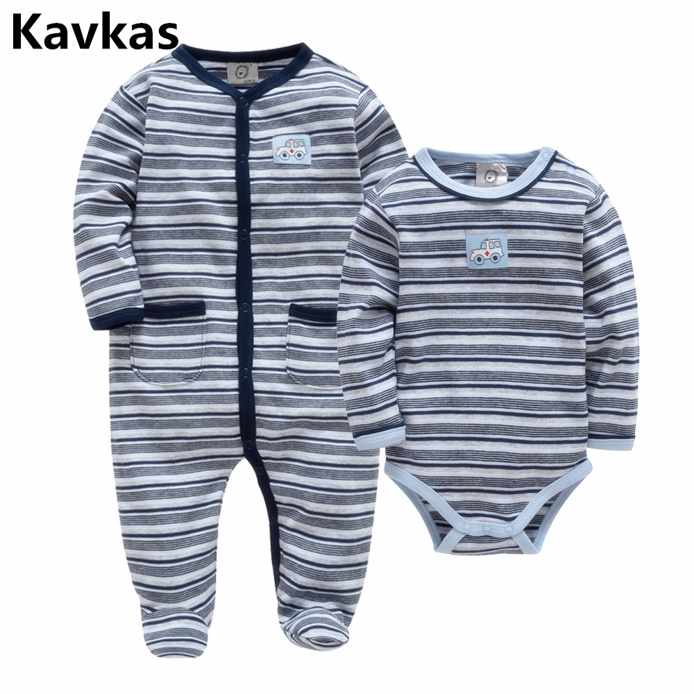 Kavkas New Shelves 2018 Baby Winter Clothes Long Sleeves Stripes Boy Newborn Baby Clothes Body Pants Baby Clothing Set