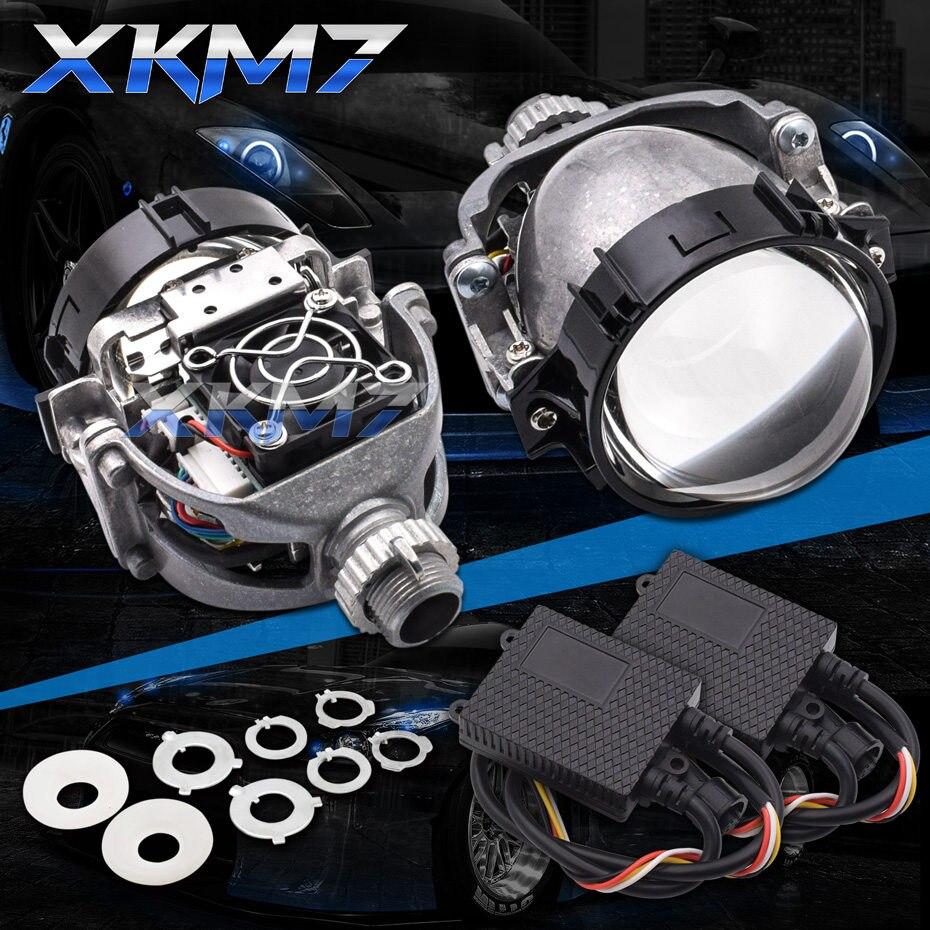 Bi lentille de projecteur Led H7 H4 H1 9005 9006 H13 9004 9007 phares LED pour voitures Angel Eyes Halo anneaux feux de course rénovation bricolage