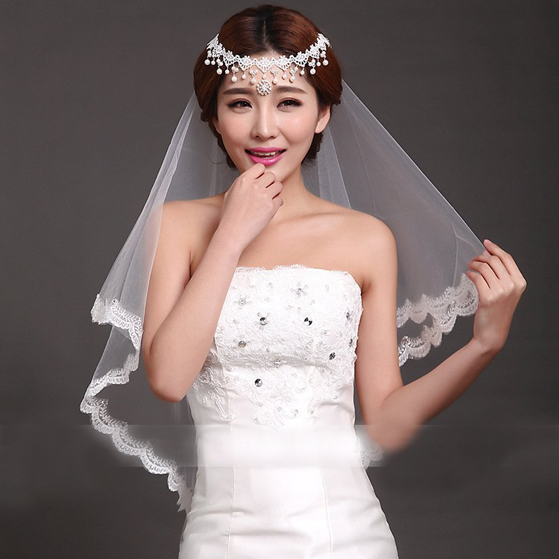 Short Wedding Veils With Lace