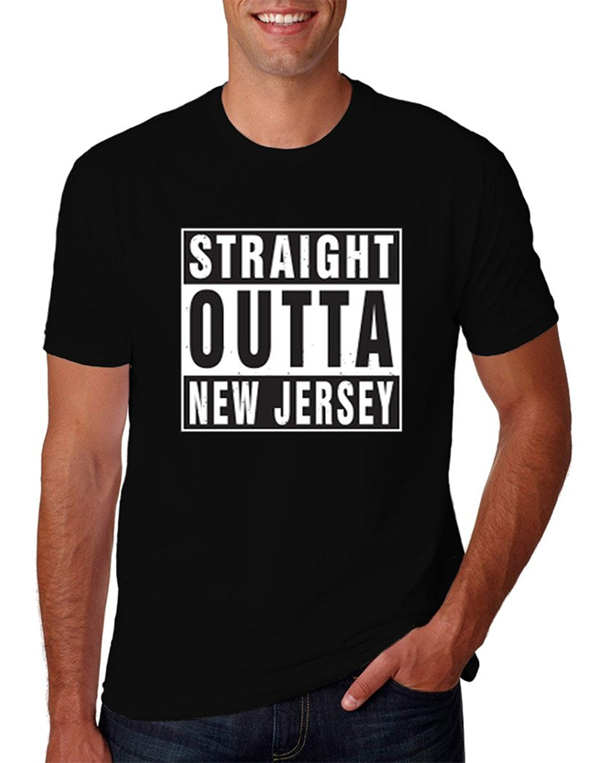 Straight Outta New Jersey Compton N.W.A. Parody T-Shirt Short Sleeves Cotton T Shirt Free Shipping TOP TEE Personality