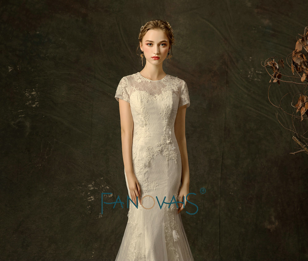 Vintage Wedding Dress 2018 Short Sleeves Vestido De Noiva Mermaid
