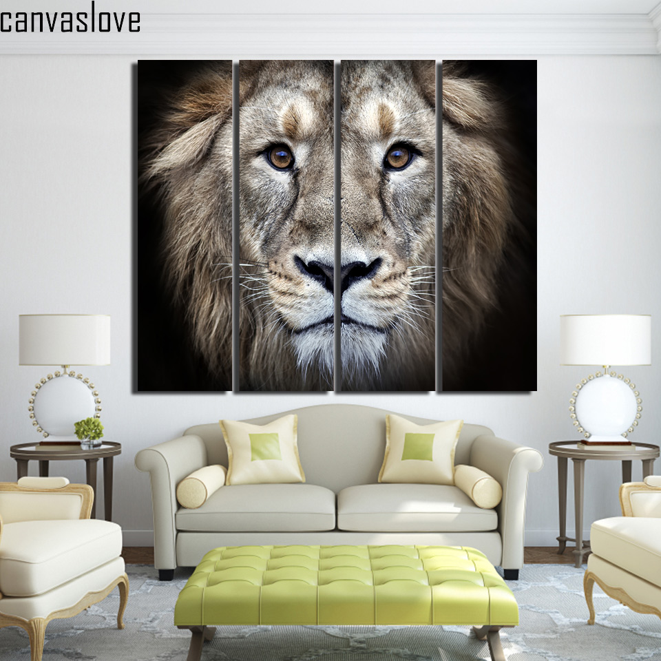 Animal Home Decor: 4 Piece Canvas Wall Art Painting Canvas Printed Wild Lion