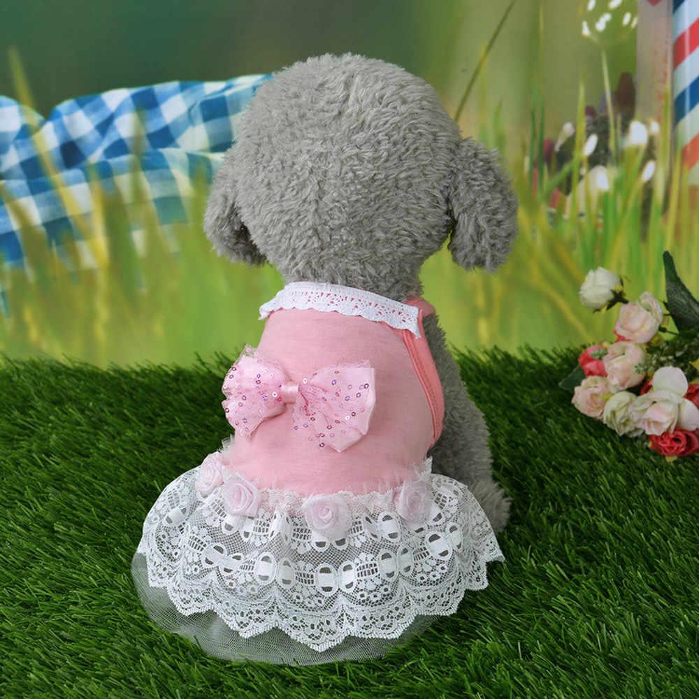 כלב חתול Bow טוטו שמלת תחרה חצאית חיות מחמד כלבלב כלב נסיכת תלבושות הלבשה בגדי Blusas Para Perro # ZH