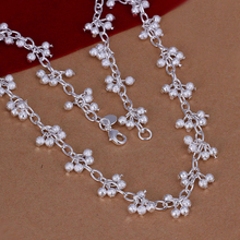 Women or girls fashion jewerly 925 sterling silver small ball grand grape beads  charms  links Necklace Wholesale
