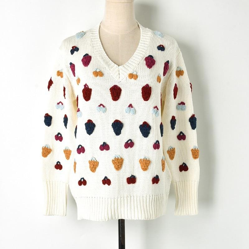 Mignon Accroché Luxe Pulls Cerise Fruits Main Sweters Femmes Motif White De Chandail V 3d Invierno Fraise Blanc 2018 Cou dOtnwqfX8d