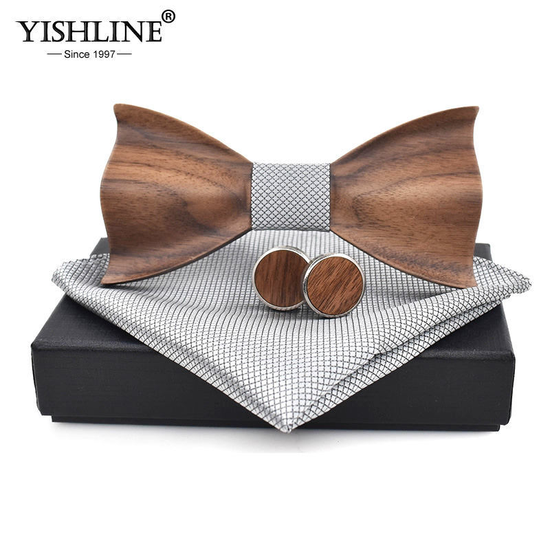 3D Black Walnut Bow Tie Male Wedding Wooden Bow Tie Cufflinks Square Towel Set